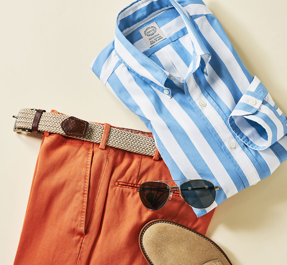 BLUE BROAD STRIPE BUTTON-DOWN